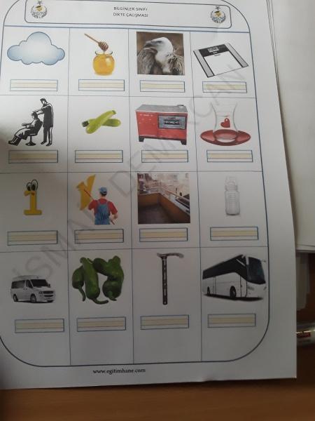 1a Sınıfımızın Görsel Dikte çalışması Arısu Ilkokulu